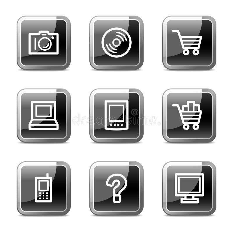 Iconos del Web de la electrónica, serie brillante de los botones ilustración del vector