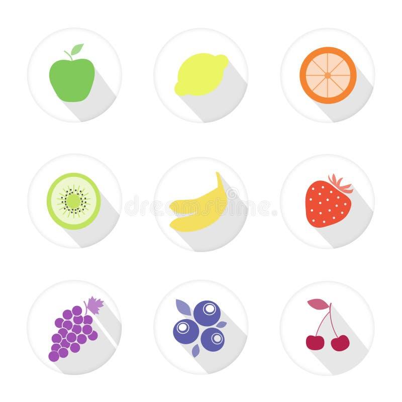 Iconos del web de la fruta imagenes de archivo