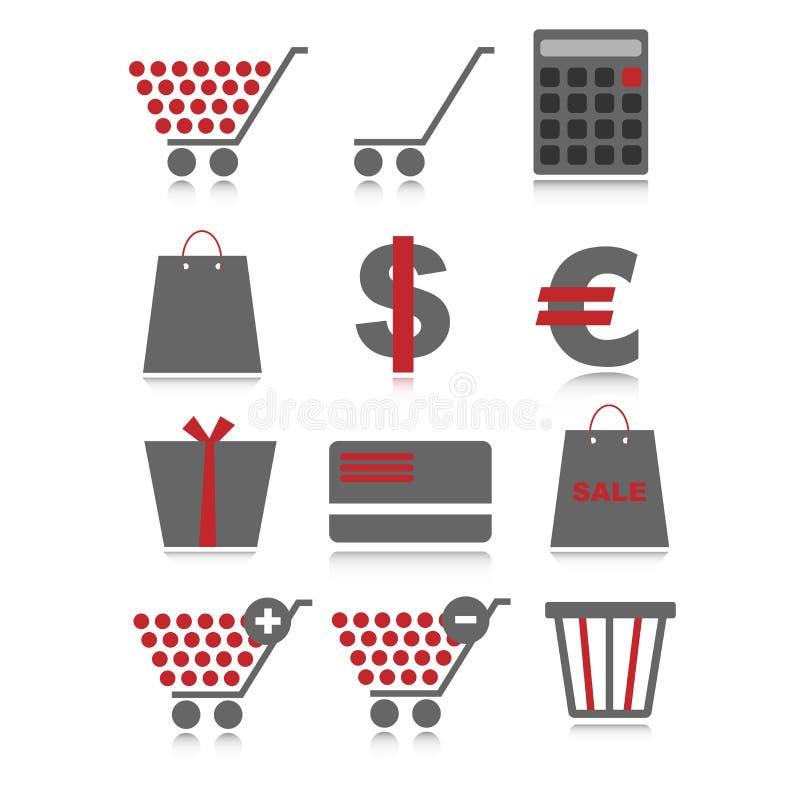 Iconos del Web de la venta - gris y rojo stock de ilustración