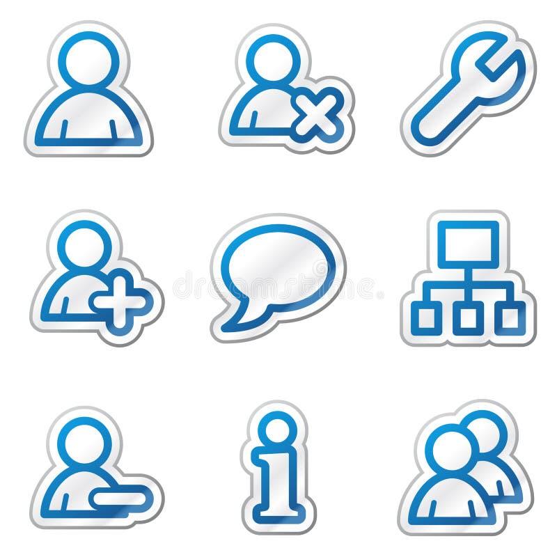 Iconos del Web de los utilizadores, serie azul de la etiqueta engomada del contorno ilustración del vector