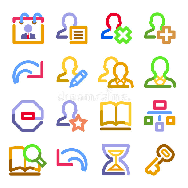 Iconos del Web de los utilizadores. Serie del contorno del color. ilustración del vector