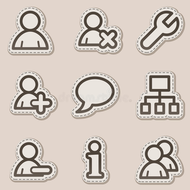 Iconos del Web de los utilizadores, serie marrón de la etiqueta engomada del contorno stock de ilustración