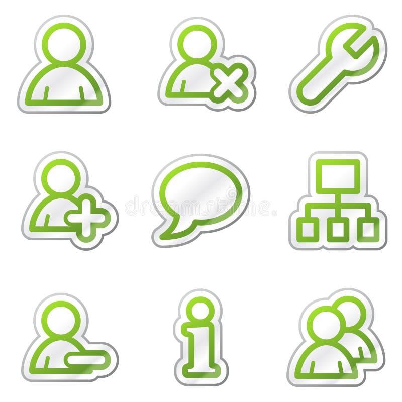 Iconos del Web de los utilizadores, serie verde de la etiqueta engomada del contorno stock de ilustración