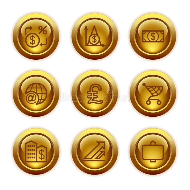 Iconos del Web del botón del oro, conjunto 23 libre illustration