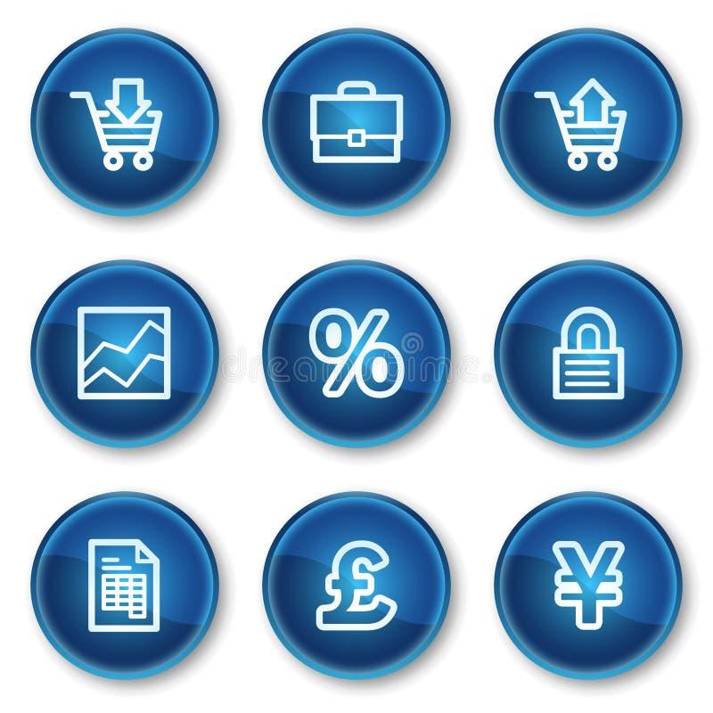 Iconos del Web del comercio electrónico, botones azules del círculo stock de ilustración