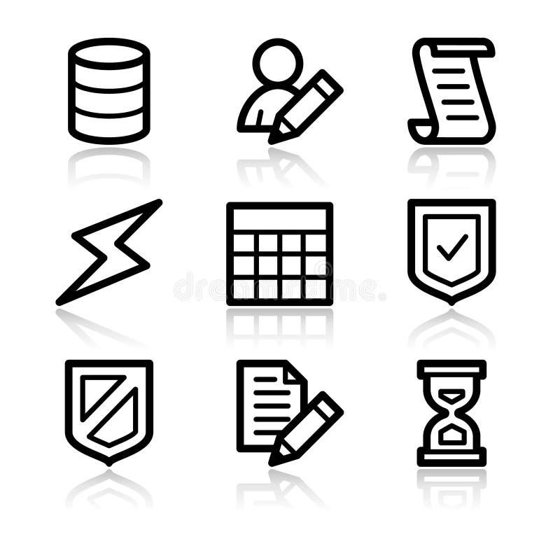 Iconos del Web del contorno de la base de datos ilustración del vector