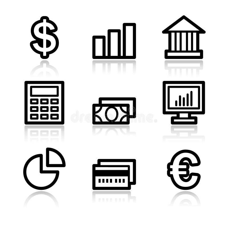 Iconos del Web del contorno de las finanzas ilustración del vector