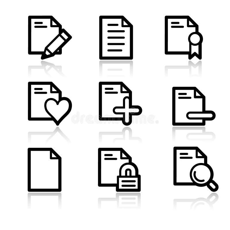 Iconos del Web del contorno de los documentos stock de ilustración