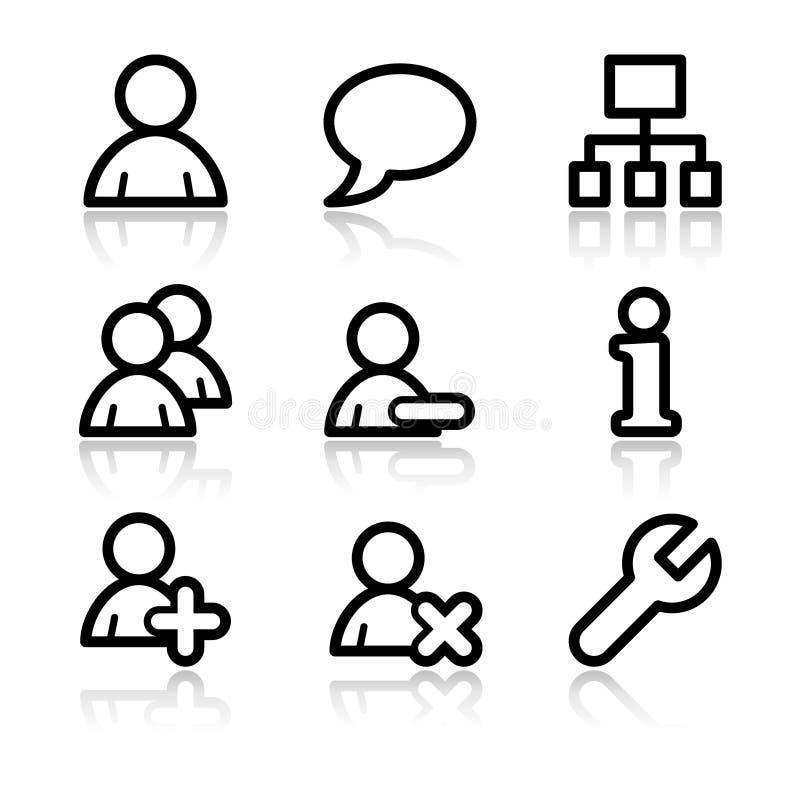 Iconos del Web del contorno de los utilizadores ilustración del vector
