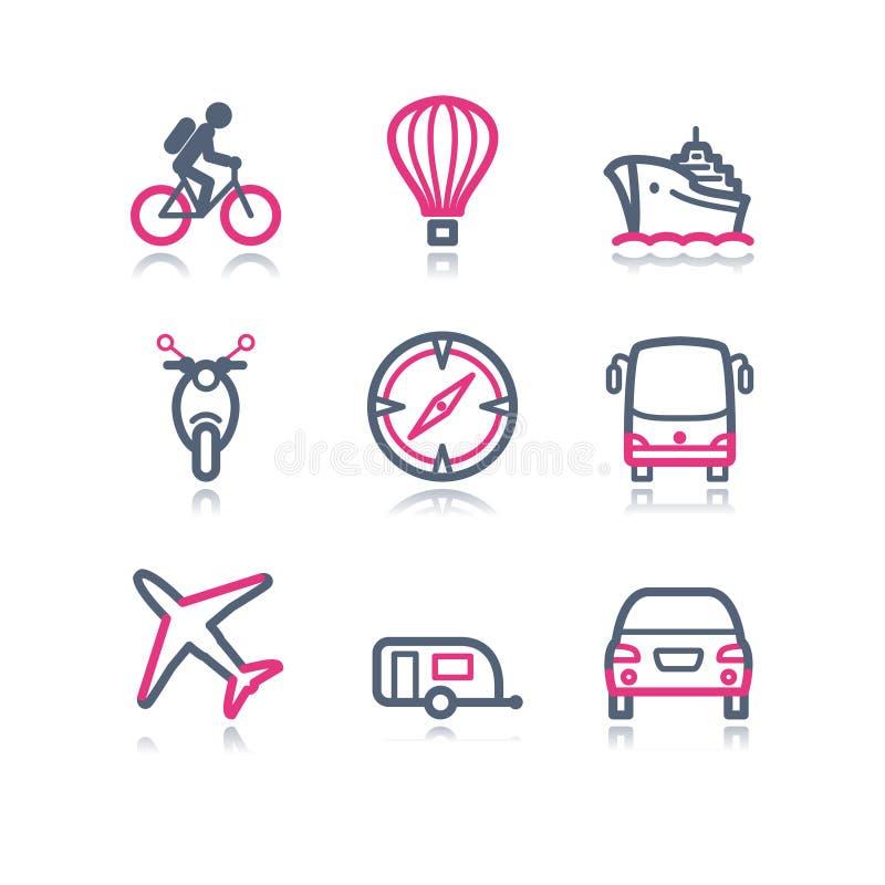 Iconos del Web del contorno del color, 20 stock de ilustración