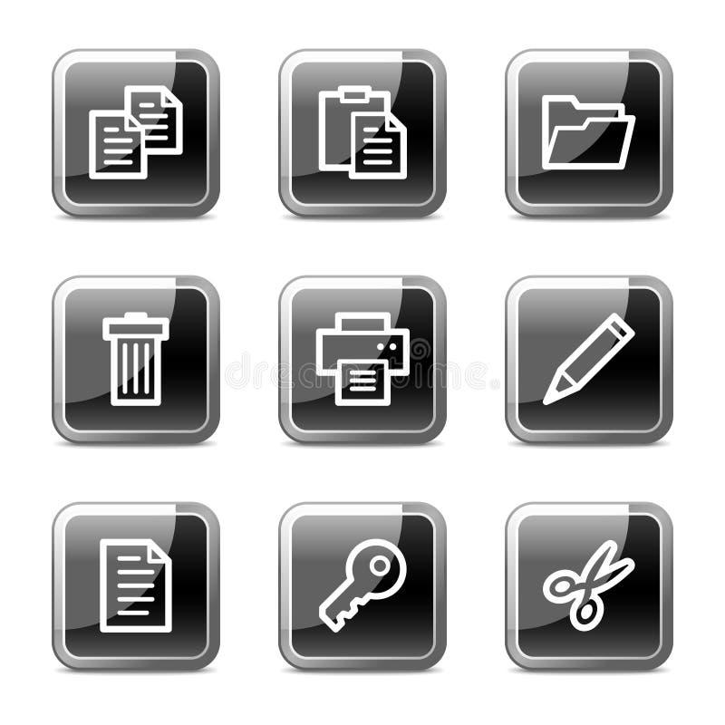 Iconos del Web del documento, serie brillante de los botones ilustración del vector