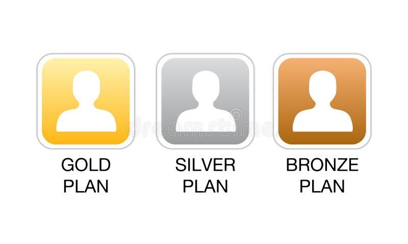 Iconos del Web del plan de la calidad de miembro ilustración del vector