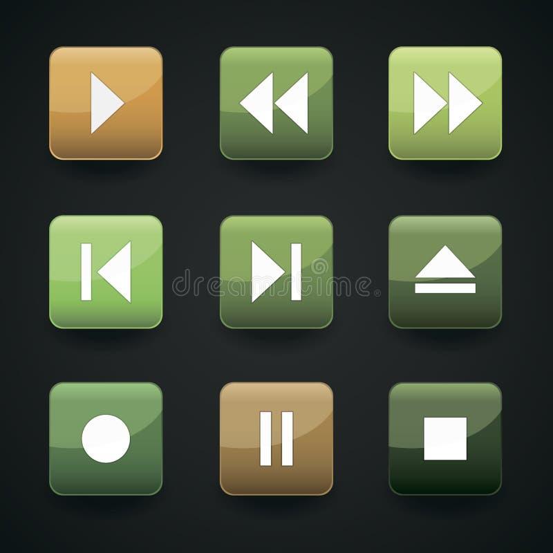 Iconos del web del reproductor multimedia ilustración del vector