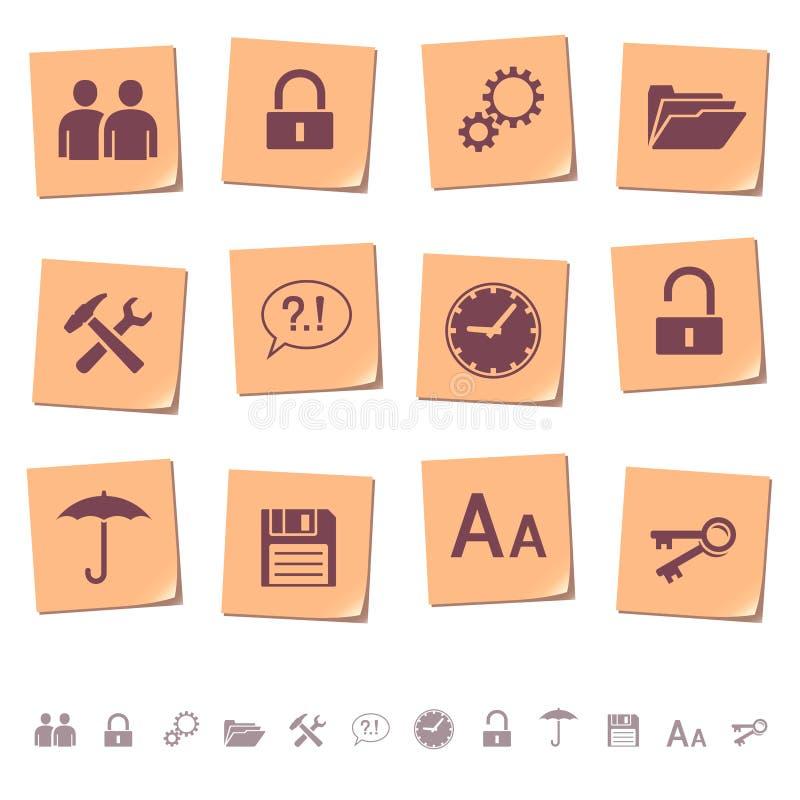 Iconos del Web en las notas 3 de la nota ilustración del vector