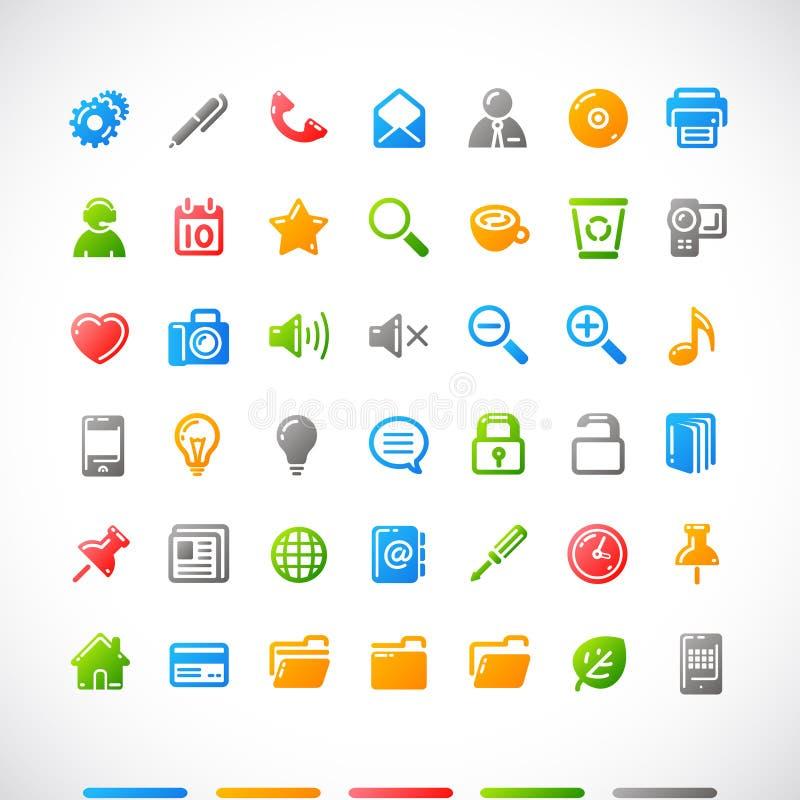 Iconos del Web fijados stock de ilustración