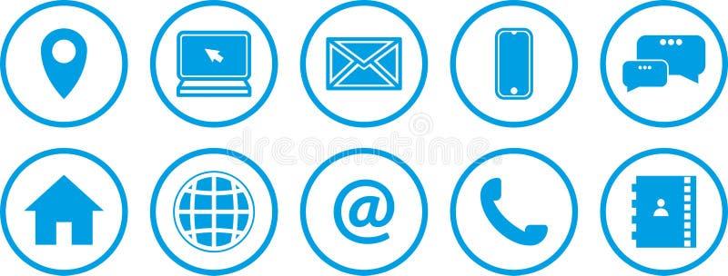 Iconos del Web fijados Iconos azules stock de ilustración