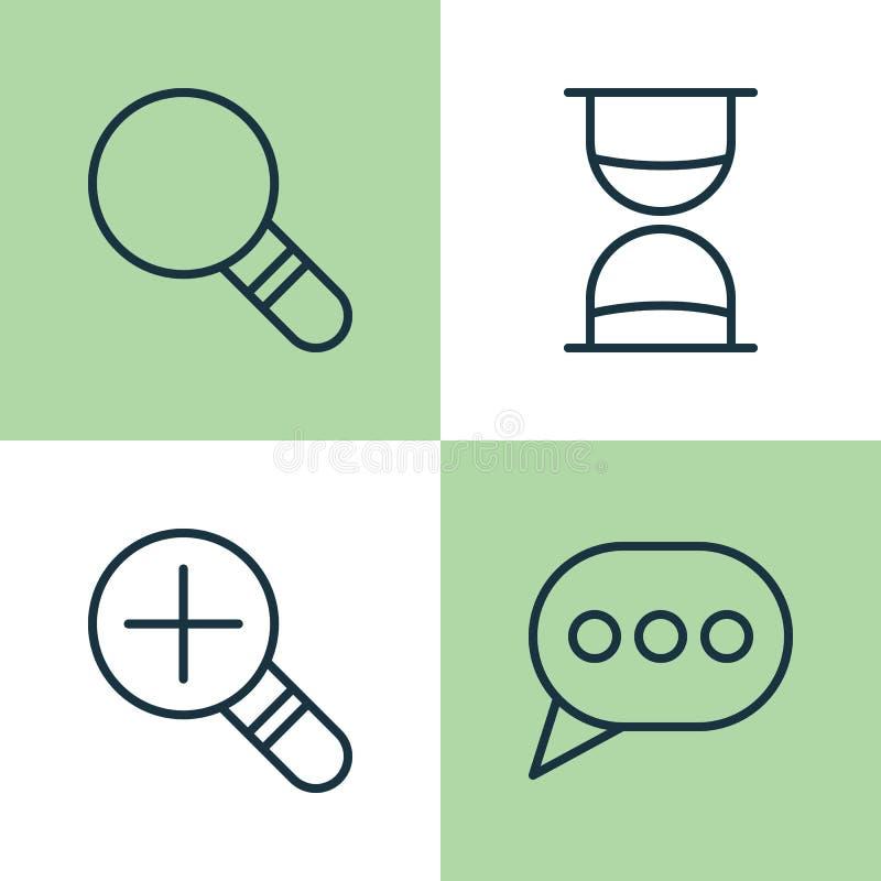 Iconos del Web fijados Colección de aumento Loup, de investigación, de reloj de arena y de otros elementos También incluye símbol libre illustration