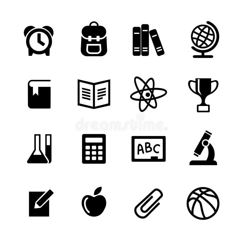 16 iconos del Web fijados. Educación, escuela stock de ilustración
