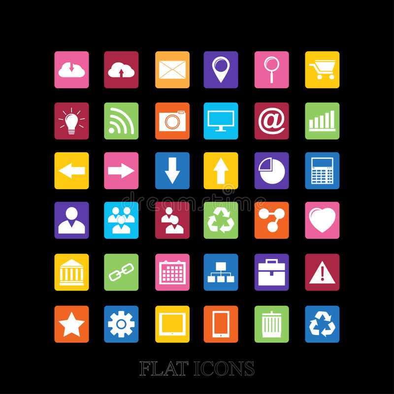 Iconos del web fijados en diseño plano stock de ilustración