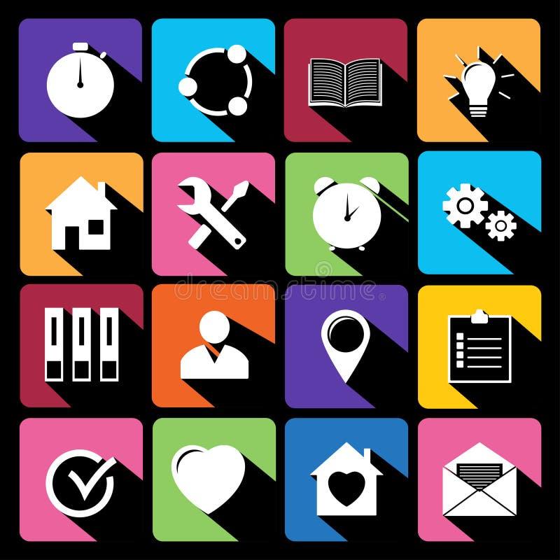 Iconos del web fijados en diseño plano ilustración del vector