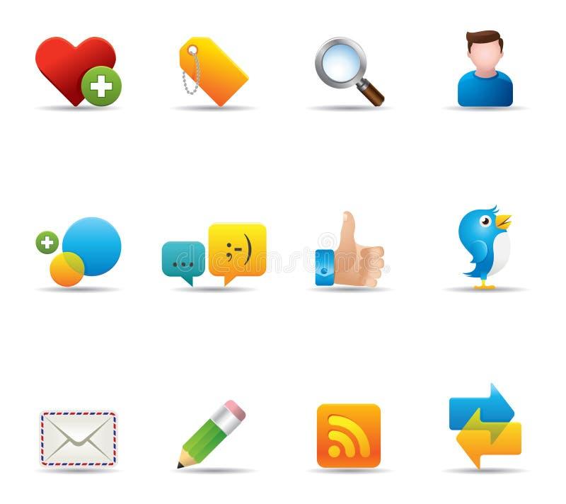 Iconos del Web - red social stock de ilustración