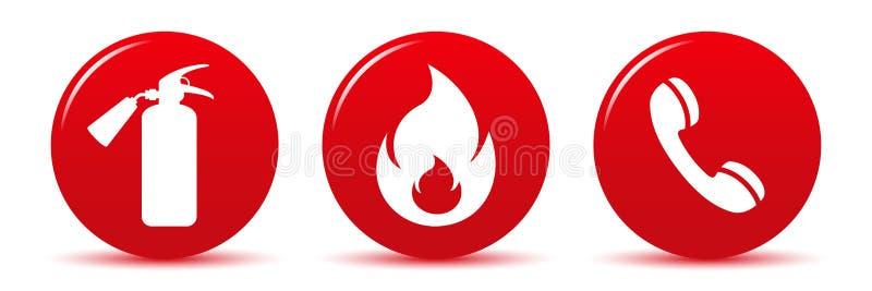 Iconos del web del vector de la seguridad contra incendios aislados en blanco stock de ilustración