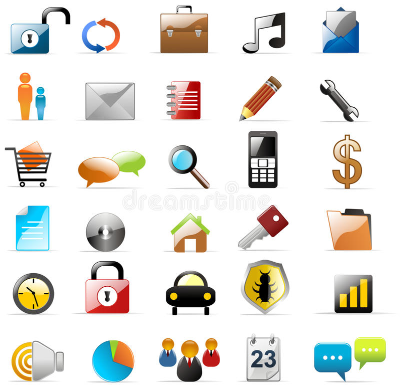 Iconos del Web y de los multimedia stock de ilustración