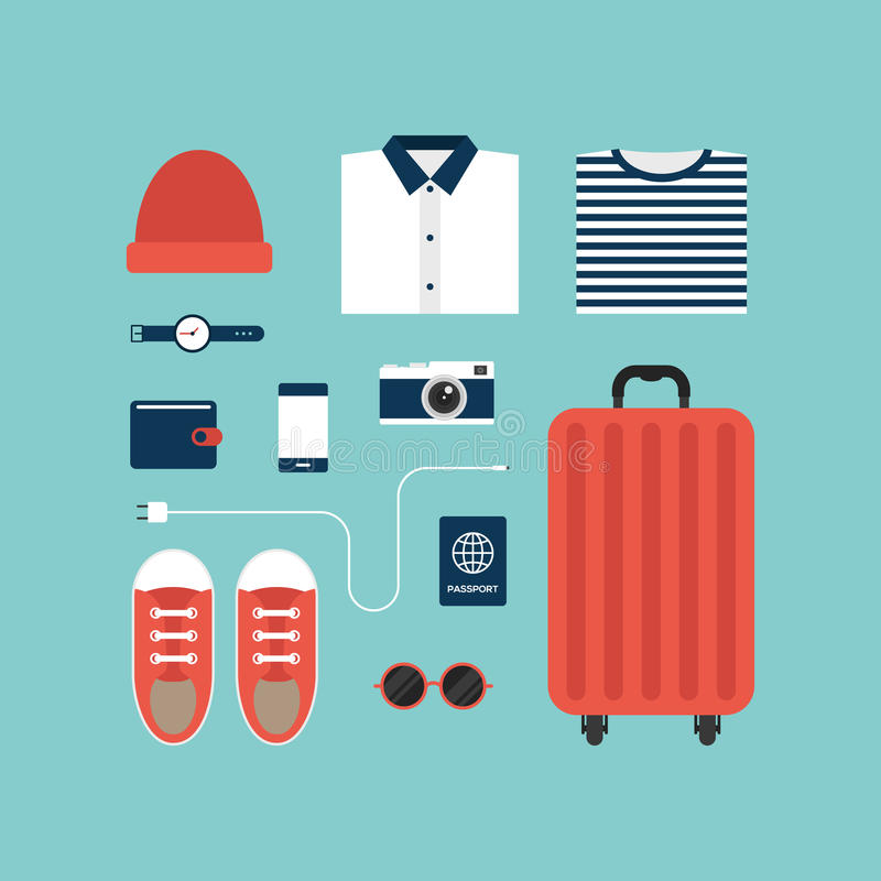 Iconos del World Travel y diseño plano del concepto del objeto libre illustration