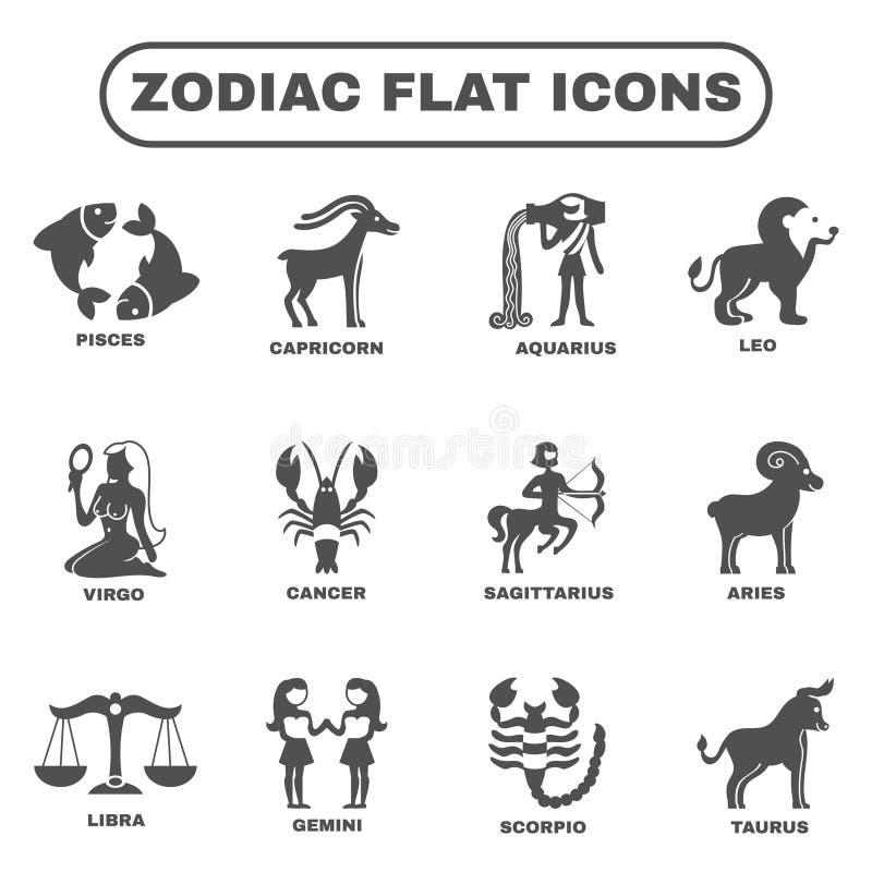 Iconos del zodiaco fijados ilustración del vector