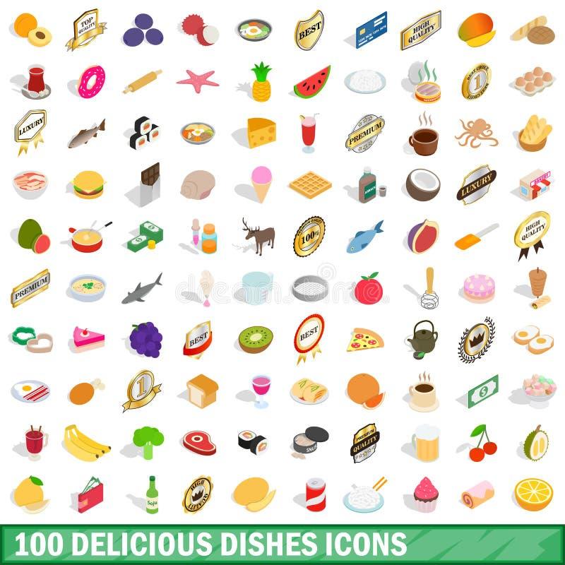 100 iconos deliciosos de los platos fijaron, el estilo isométrico 3d stock de ilustración