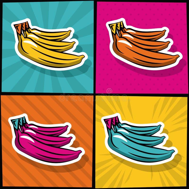 Iconos deliciosos del arte pop de los plátanos ilustración del vector