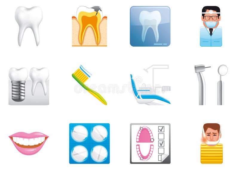 Iconos dentales ilustración del vector