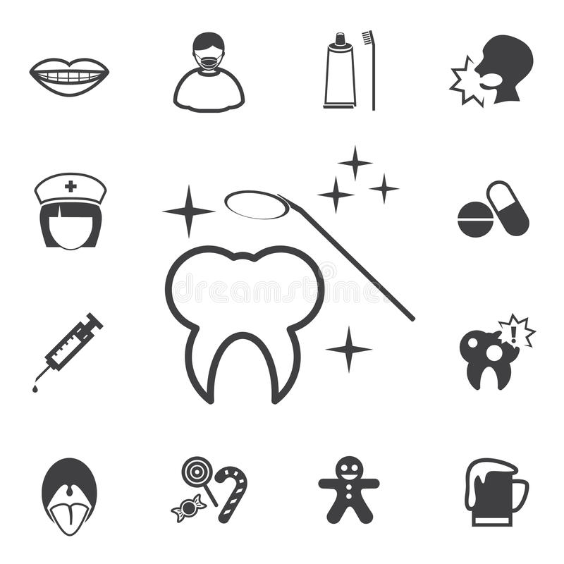 Iconos dentales fijados stock de ilustración
