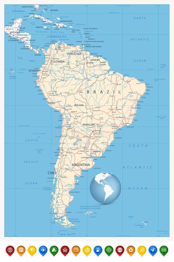 Iconos detallados del perno del mapa y de la ubicación de Suramérica libre illustration