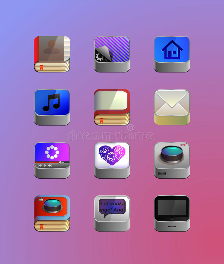 Iconos detallados para el smartphone ilustración del vector