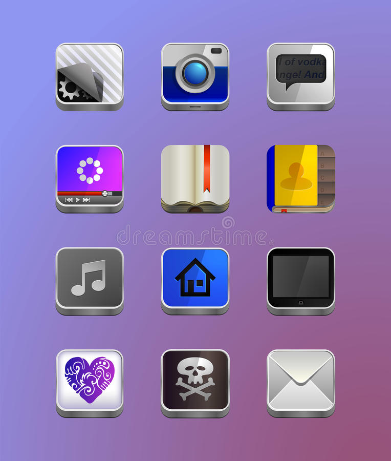 Iconos detallados para el smartphone stock de ilustración