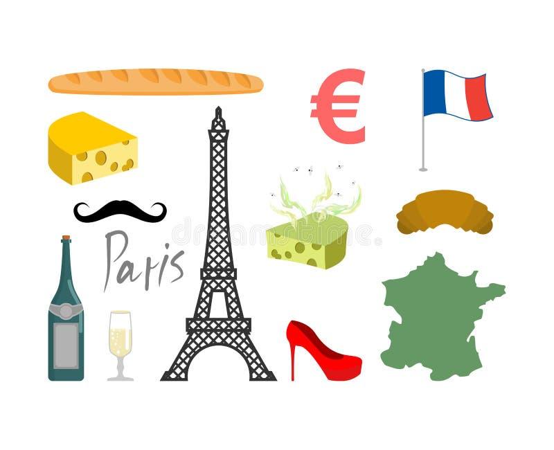 Iconos determinados de Francia Símbolo tradicional del viaje Vistas y characte stock de ilustración