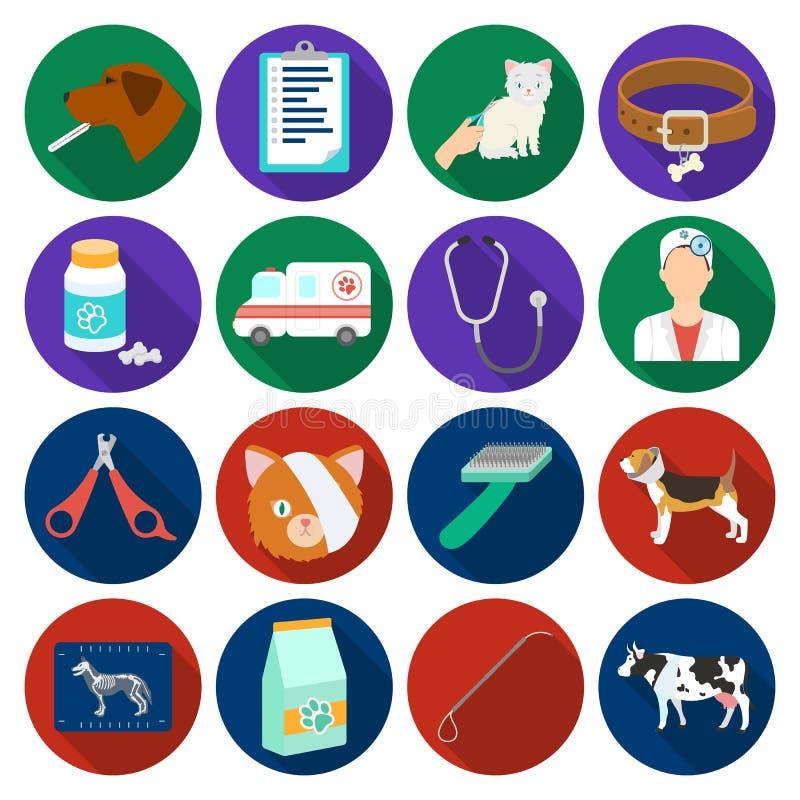 Iconos determinados de la clínica veterinaria en estilo plano Colección grande de ejemplo veterinario de la acción del símbolo de ilustración del vector