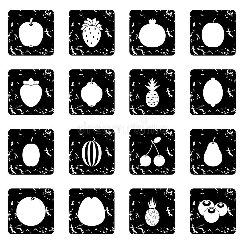 Iconos determinados de la fruta, estilo del grunge ilustración del vector