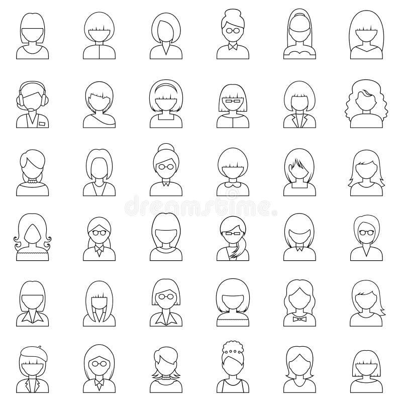 Iconos determinados de la gente del esquema stock de ilustración