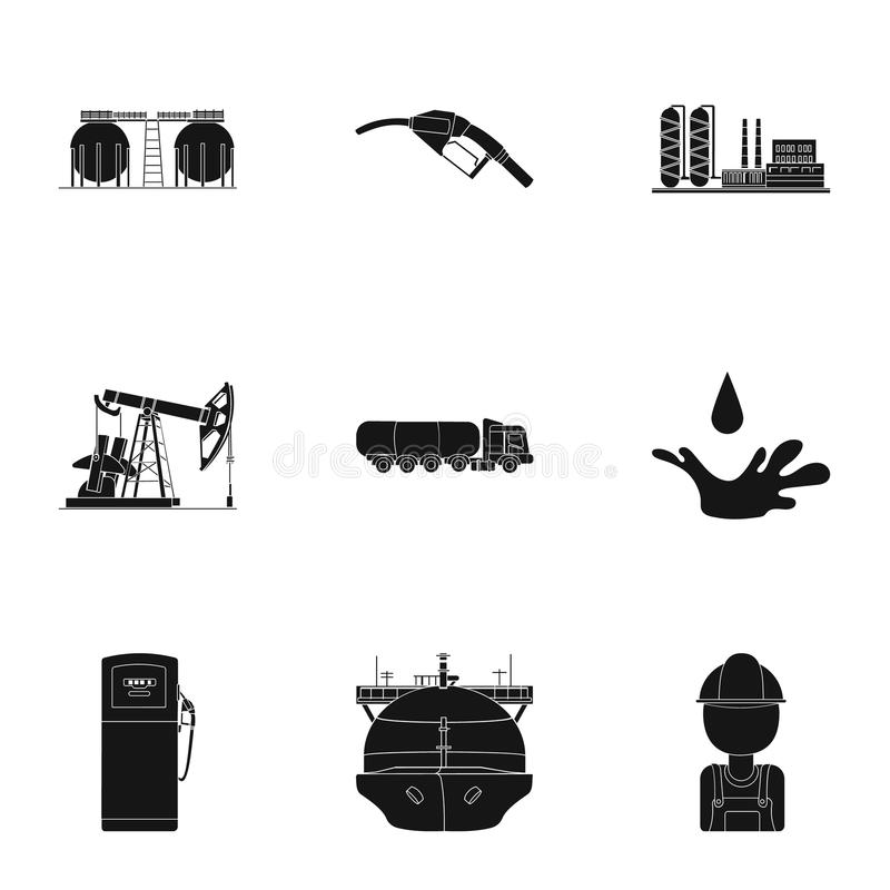 Iconos determinados de la industria de petróleo en estilo negro Colección grande de ejemplo de la acción del símbolo del vector d ilustración del vector