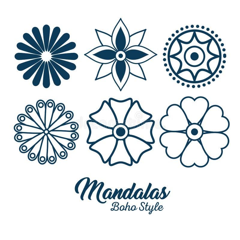 Iconos determinados de la mandala del estilo de Boho stock de ilustración