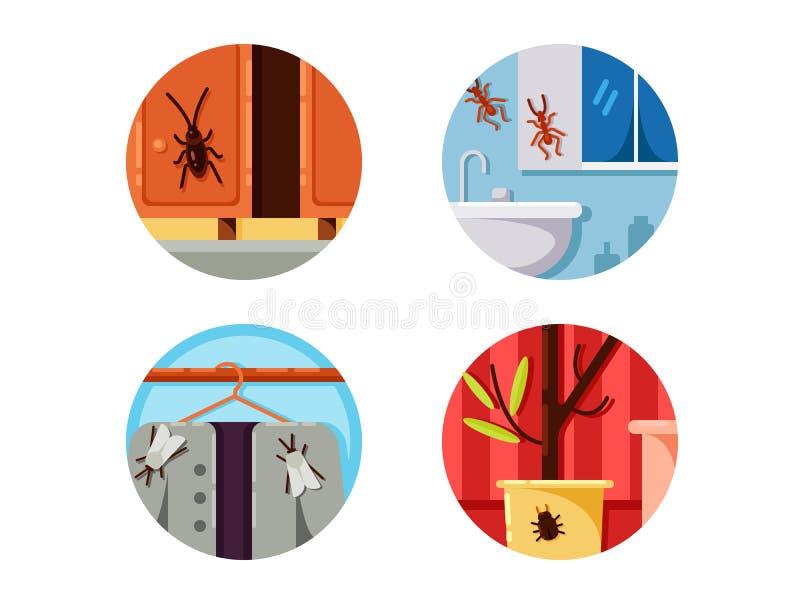 Iconos determinados de los bichos del hogar ilustración del vector