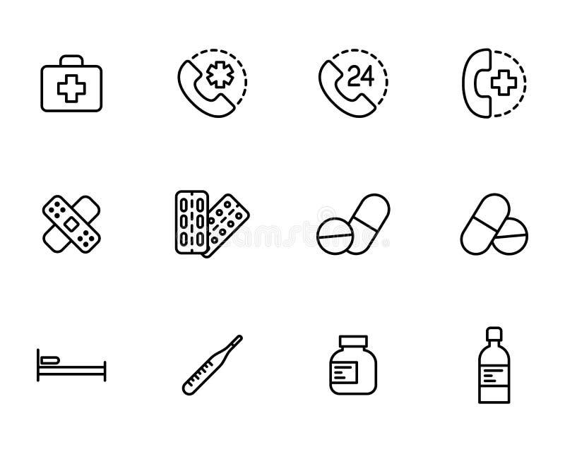 Iconos determinados de los primeros auxilios en el fondo blanco libre illustration