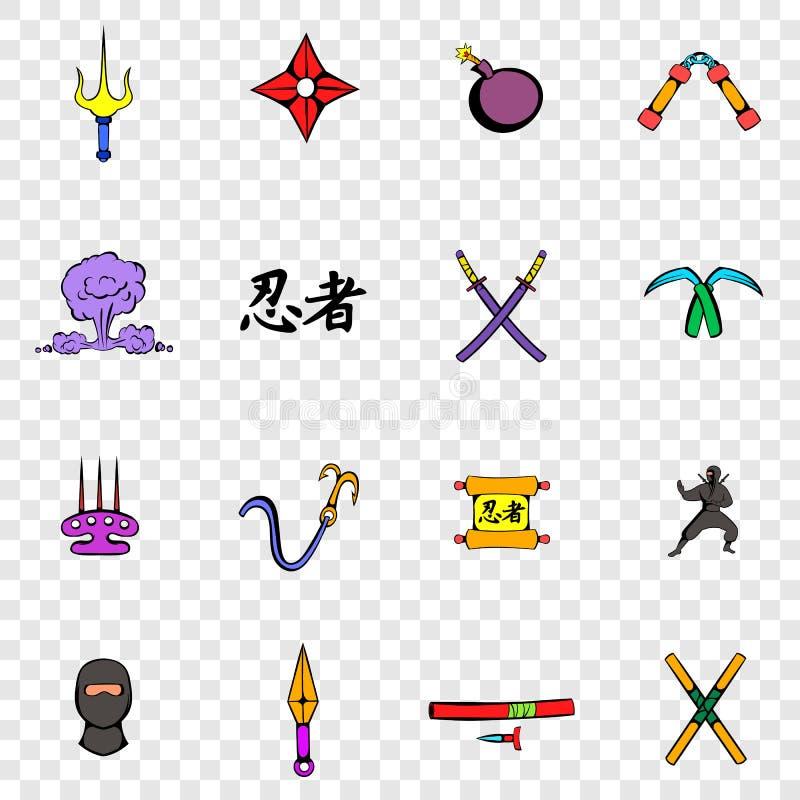 Iconos determinados de Ninja ilustración del vector