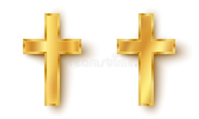 Iconos determinados de una cruz de oro ilustración del vector