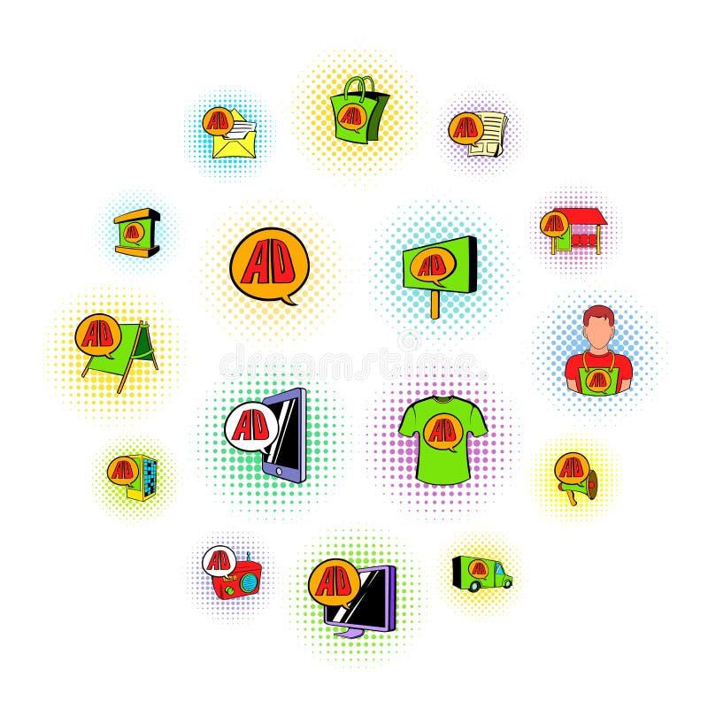 Iconos determinados del anuncio, estilo de los tebeos libre illustration