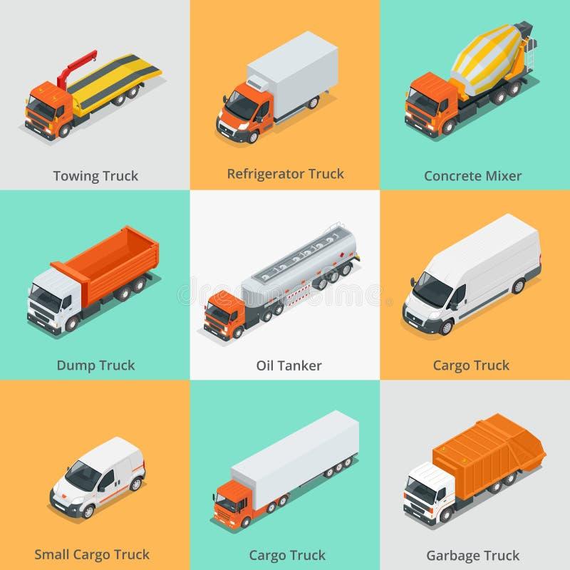 Iconos determinados del camión del cargo Camión del quitanieves, pequeño camión del cargo, mezclador concreto, camión volquete, b stock de ilustración
