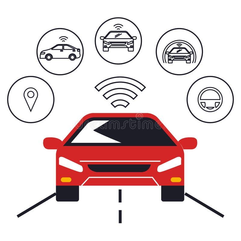 Iconos determinados del coche autónomo stock de ilustración