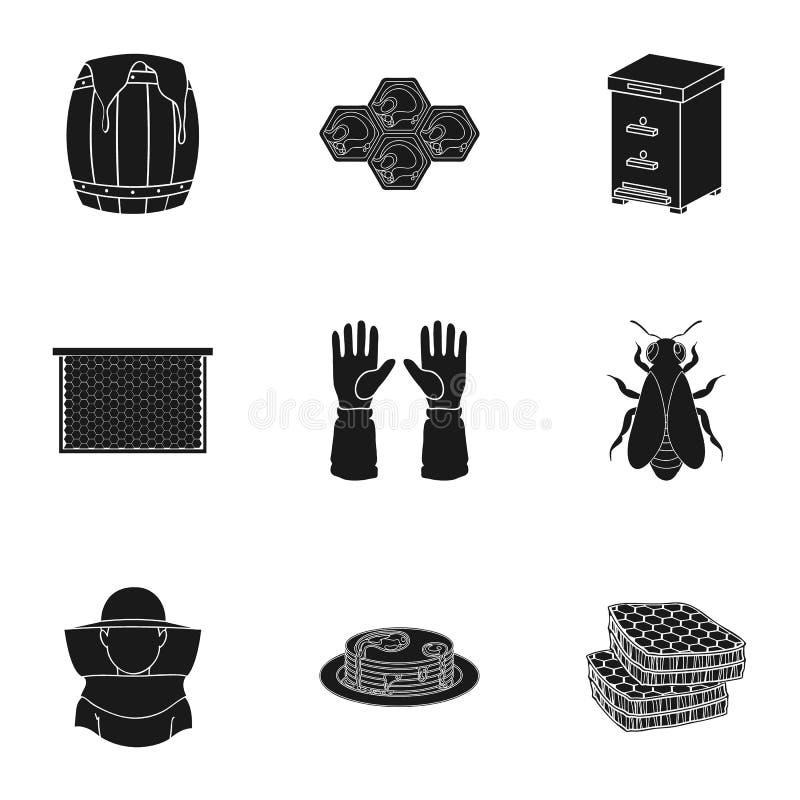 Iconos determinados del colmenar en estilo negro Colección grande de ejemplo de la acción del símbolo del vector del colmenar stock de ilustración